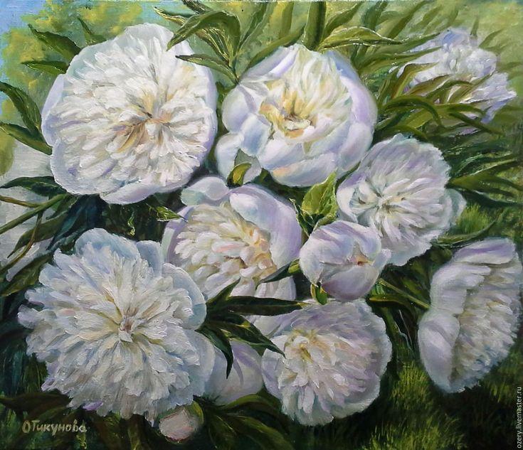 """Купить Картина маслом """"Белые пионы"""",цветы - картина маслом, картина с цветами, картина на холсте"""