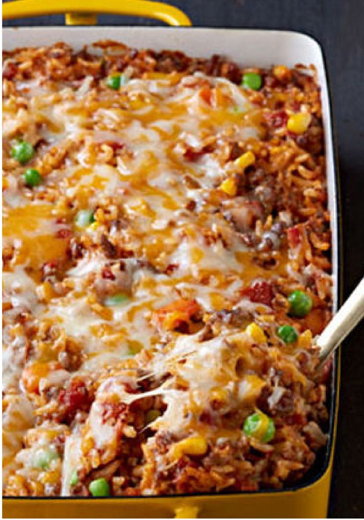 Mexican Beef and Rice Casserole – A way to make a pound of ground beef serve eight: a flavorful beef and rice casserole made with Mexican-style cheese and taco seasoning.
