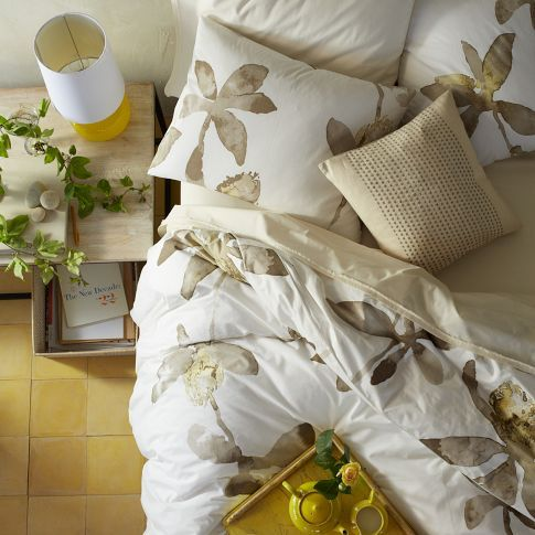 So pretty for guests. Organic Orchid Duvet Cover + Shams | west elm