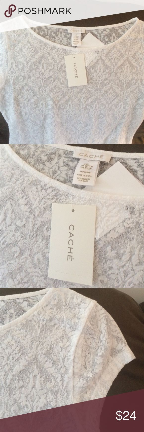 Cache NWT small stretch lace Semi-sheer CACHE top beautiful patterned lace Cache Tops Blouses