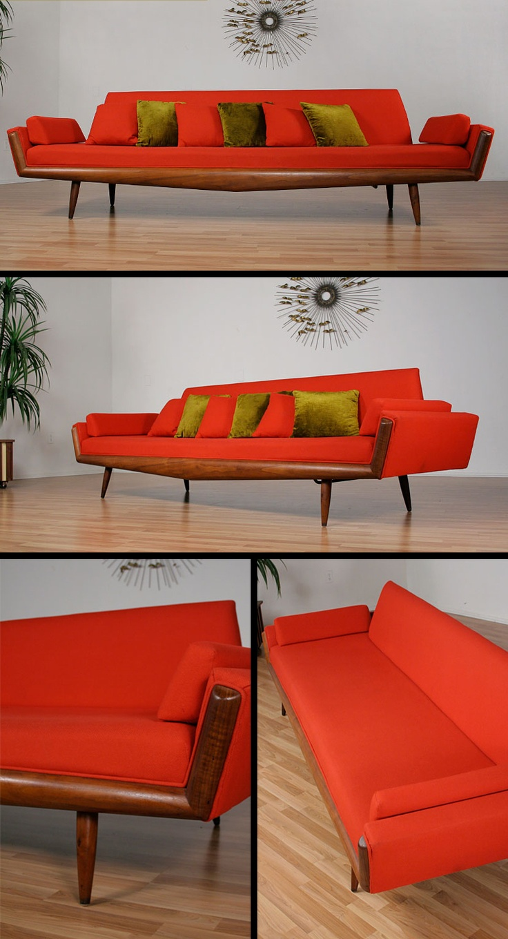 Vintage long red mid century modern Adrian Pearsall sofa with trapezoidal  back rest and atomic style tapered angled legs. 51 best images about MID CENTURY MODERN  furniture   more on