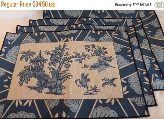 SALE Set of 4 Fabric Placemats in a Blue Willow Design in