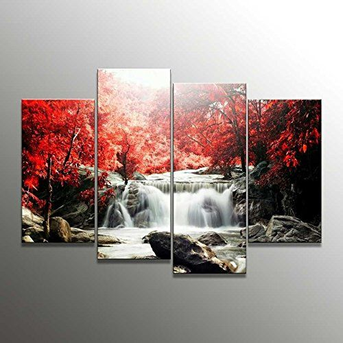canvas wall art 4-Piece Red Woods Waterfall Canvas Print Paintings for Wall and Home Décor