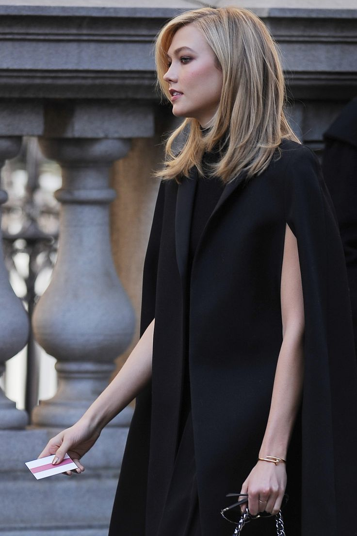 Karlie Kloss. Cape. Hair.
