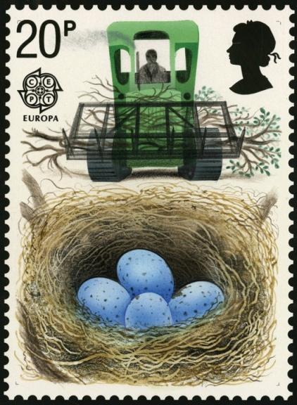 David Gentleman stamp design - Unadopted presentation visual, Endangered Species: bird's eggs and tractor, 1986