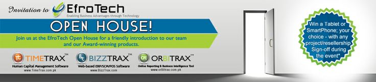 Are you part of an Organization looking for the best ERP Software in the market? Or a Technology Reseller or an IT / Supply Chain / Management Consultant looking for an Award-winning Enterprise Resource Planning software? Look no further! Register yourself at http://www.EfroTech.com/OpenHouse and Visit us at the ET Open House on 6 May 2014.