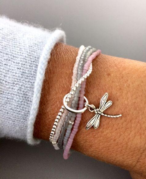 Armbänder – zartes Armband, 5-reihig, mit matten …