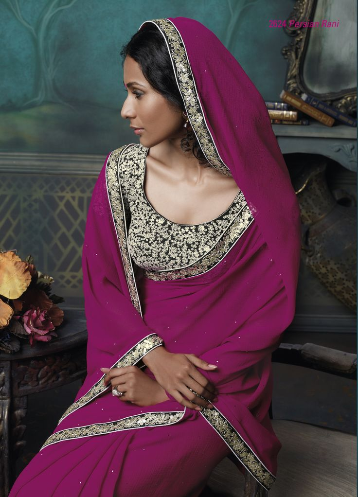 Dark pink color chiffon saree with black color embroidered blouse piece