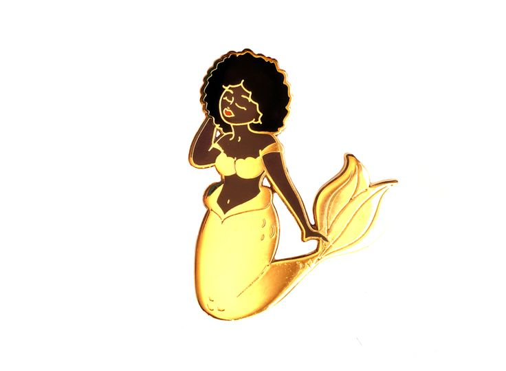 This spectacular mermaid features a black afro and a shiny gold metal tail with etched details. Available in two skin tones! She can be displayed individually or matched up with one of my other mermai