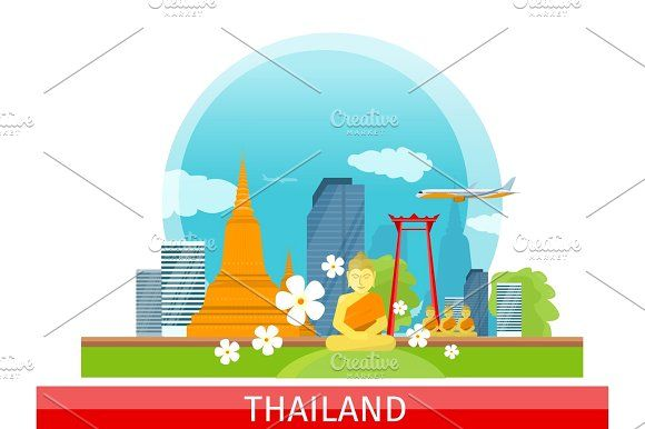 Thailand Travelling banner. Thai Landmarks. Graphics Thailand travelling banner. Landscape with traditional Thai landmarks. Skyscrapers and private build by robuart