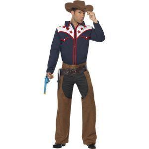 Ce costume de cow-boy rodéo pour homme se compose d'une chemise, d'une paire de chaps et d'un chapeau. Il est disponible en taille M. La chemise à manches longues est de couleur bleue et blanche et possède des liserés rouges. Les chaps sont marrons et se