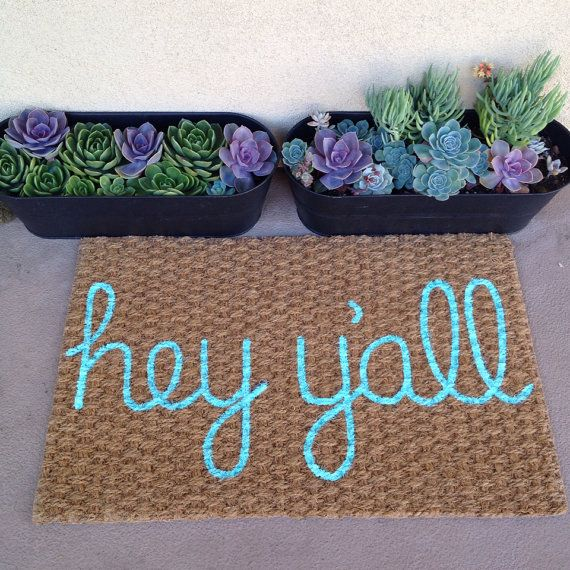 Hey Y'all welcome mat by itsonlyyou on Etsy