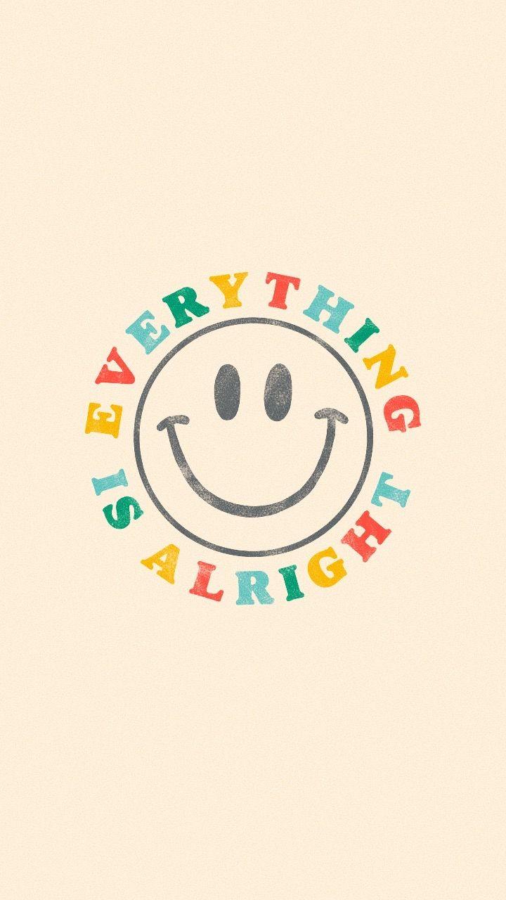 Everything Is Alright Retro Rainbow Smiley Face Sticker By Lexie Pitzen Hippie Wallpaper Cute Patterns Wallpaper Cute Wallpapers