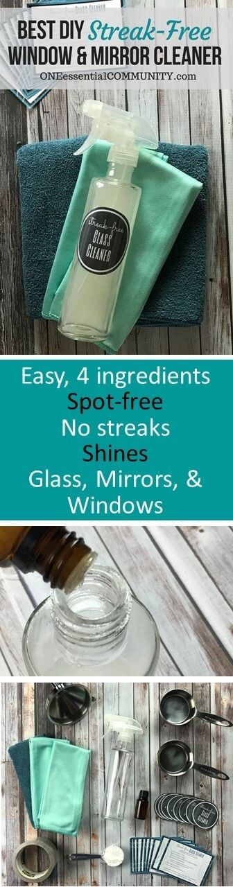 start with an 8 oz or larger glass spray bottle (like this or this) add 1/2 cup white vinegar add 1/2 cup rubbing alcohol or vodka add 1 Tbsp cornstarch add 10 drops essential oil