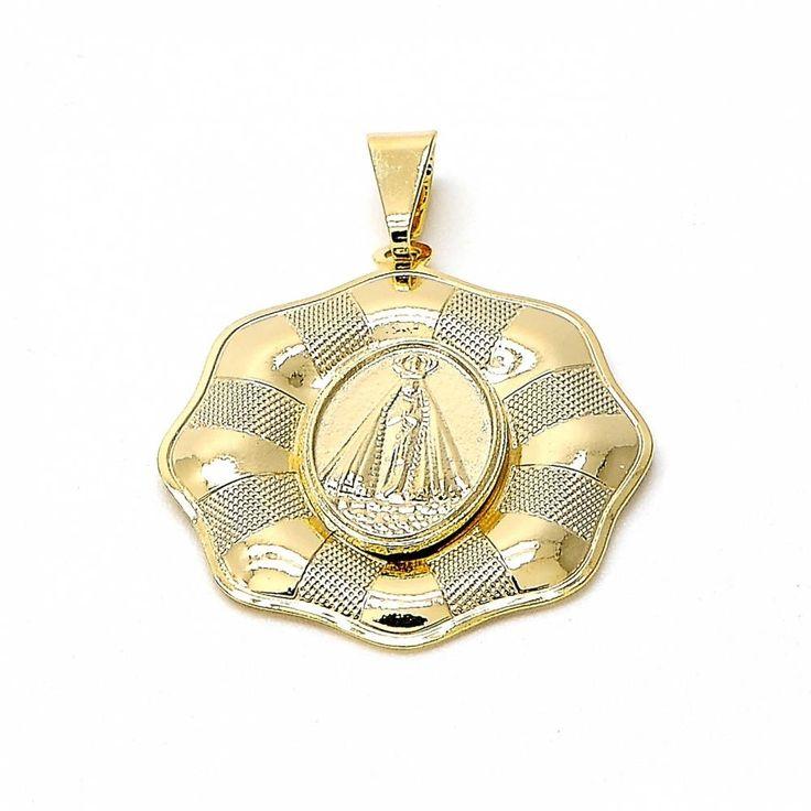 Religious Pendant Caridad del Cobre Design Matte 18kt.Plated, Men's