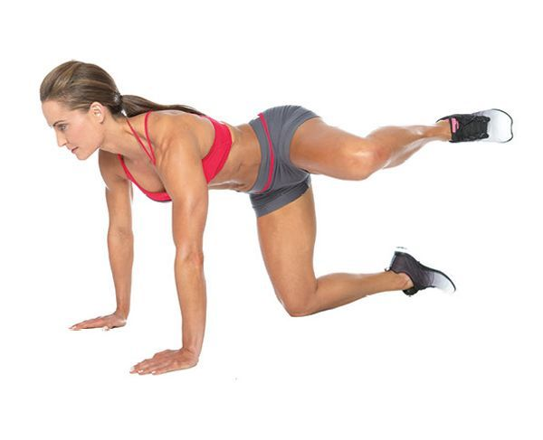 Bottoms Up! Great glutes routine! I do all 6 exercises in 3 sets. Each set has one weighted and one body weight exercise.