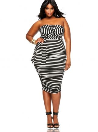 """""""Marilyn"""" Ruched Convertible Dress - Stripe"""