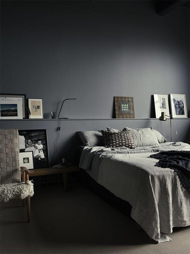 Dark bedroom Scandinavian style, decor and interior