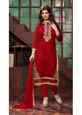 Party Wear Red Bhagalpuri Silk Salwar Suit - 73681