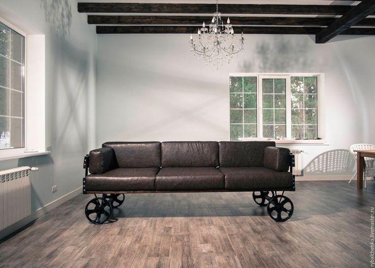 Купить Диван индастриал - диван, большой диван, лофт, индустриальный дизайн, диван на колесах, дизайнерская мебель