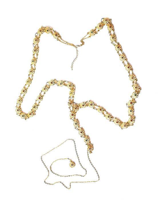 Adjustable MEDIEVAL Gold-Tone Linked Medallion Tudor BELT Inset Stones SCA Re-enactment