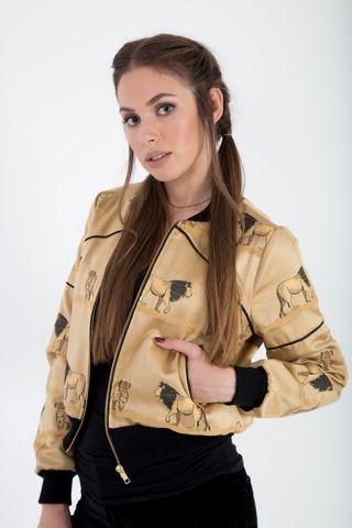 Bomber jacket satin brocade front