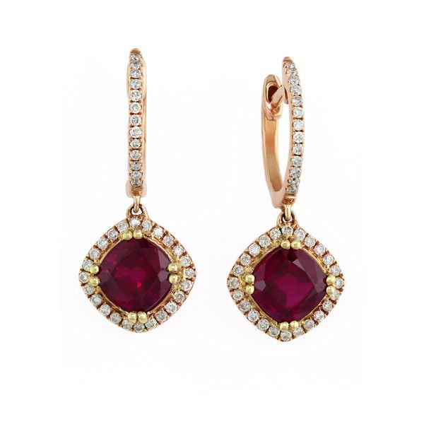 Effy Jewelry Gemma 14K Rose Gold Ruby and Diamond Earrings, 3.21 TCW ($2,695) ❤ liked on Polyvore featuring jewelry, earrings, ruby, rose gold jewelry, pink gold jewelry, womens jewellery, 14k gold earrings and diamond earrings