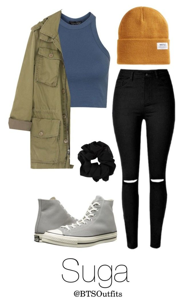 """Theater with Suga"" by btsoutfits ❤ liked on Polyvore featuring Topshop, J.Crew, WeSC and Converse"
