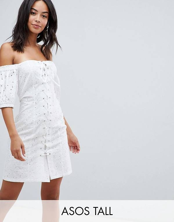 336c356b01a ASOS DESIGN Tall lace up broderie off shoulder mini sundress ...