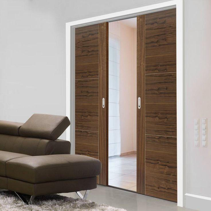 Double Pocket Mistral Walnut sliding door system in three size widths. #panelledwalnutpocketdoors #pocketdoorpair #modernpocketdoors