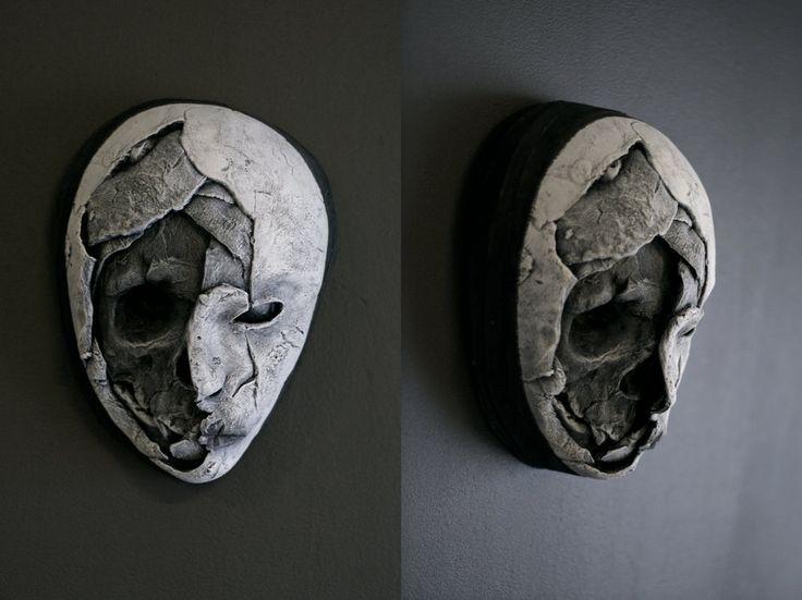 Half skull. Creepy, scary mask. nightmare fuel.