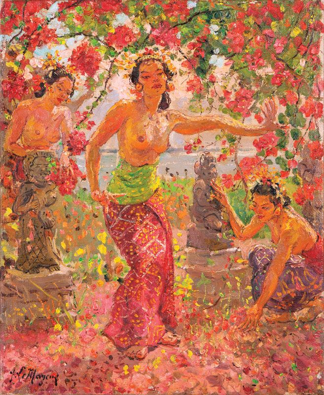Adrien Jean Le Mayeur de Merpres (1880-1958 Belgian). Balinese Women Surrounded by Flower Blossoms, oil on canvas, 21.75'' H x 18'' W, est: $100,000/150,000 signed lower left: A. Le Mayeur. Note: The present work is typical of Belgian painter Adrien Jean Le Mayeur de Merpres' lush depictions of women dancing amongst tropical flowers and foliage. Le Mayeur drew inspiration from the Indonesian island of Bali where he resided from 1933 ? 1958.