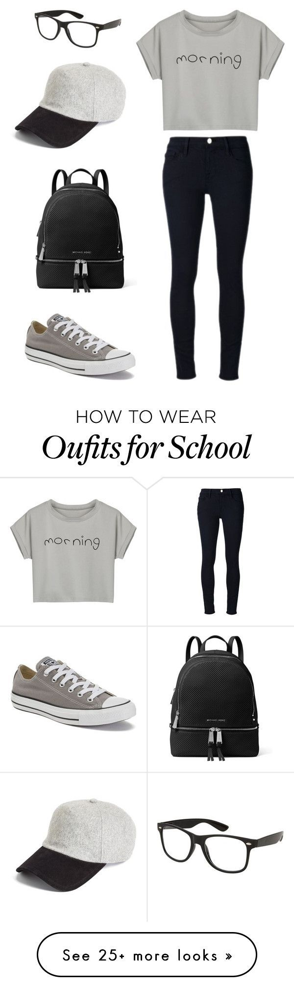 """School outfit"" by sarahaider on Polyvore featuring Frame Denim, Converse, MICHAEL Michael Kors, rag & bone and WithChic"