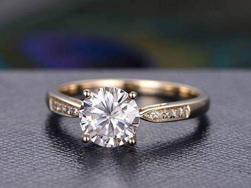7mm Round Shaped Cut Moissanite Ring Solitaire Moissanite Engagement Ring Diamond Wedding Band Solid 14K yellow Gold classic design BBBGEM offers cheap moissanite engagement rings in round shapeonline jewelry shop with Moissanite Engagement Ring and other gemstone rings