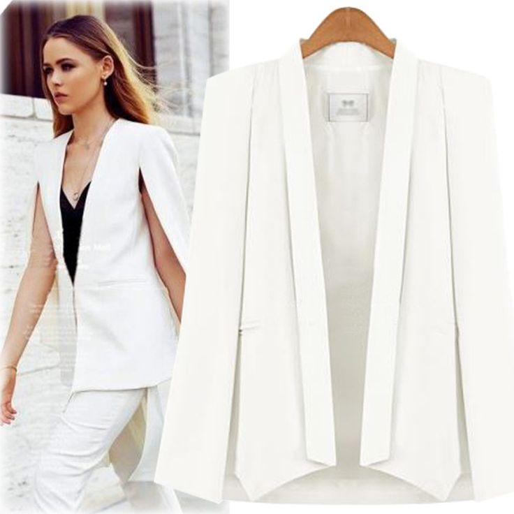 Cape Blazer Для женщин Куртки Белый Черный пиджаки женские Разделение пончо Блейзер розовый Shawl Collar Blazer Femenino офисные костюмы куртка