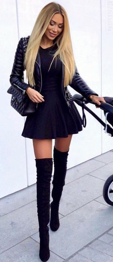 Black mini dress with leather jacket and high long boots. Pic originally posted by fashion.world_blog #Spring #outfitideas #casual
