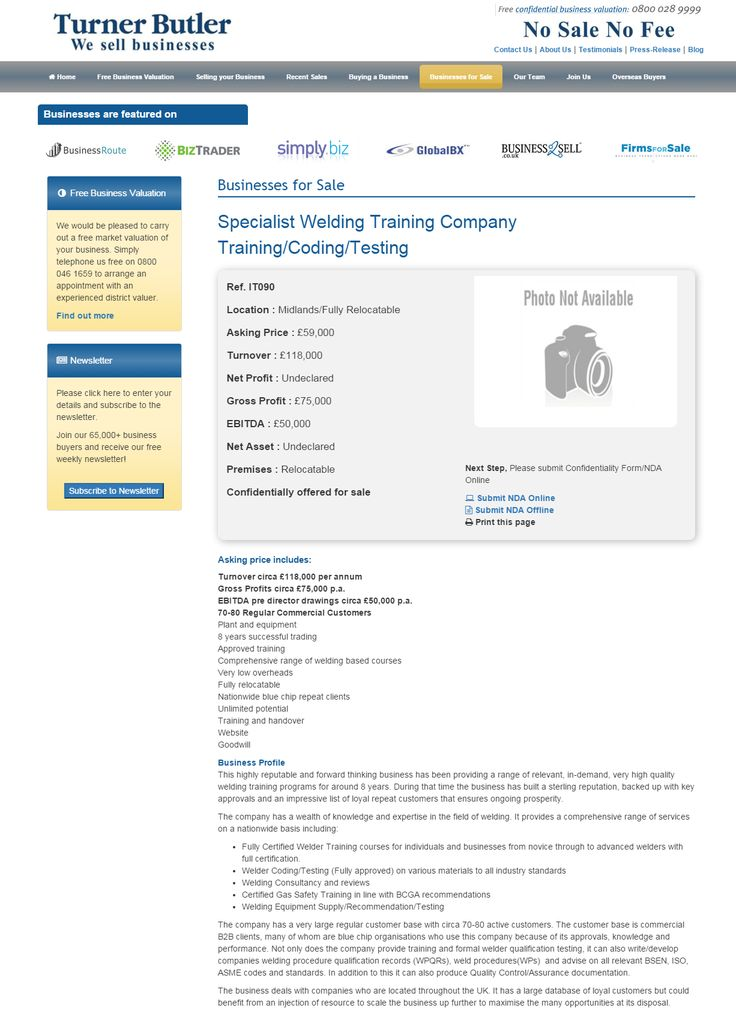 Business for sale Specialist Welding Training Company Training/Coding/Testing Ref. IT090 Location Midlands/Fully Relocatable Asking Price £59,000 RupertCattell TurnerButler we sell business Rupert Cattell Businesses for sale Turner Butler Testimonial Successful Business Broker Selling your business wesellbusiness #turnerbutler #businessesforsale #buyingabusiness