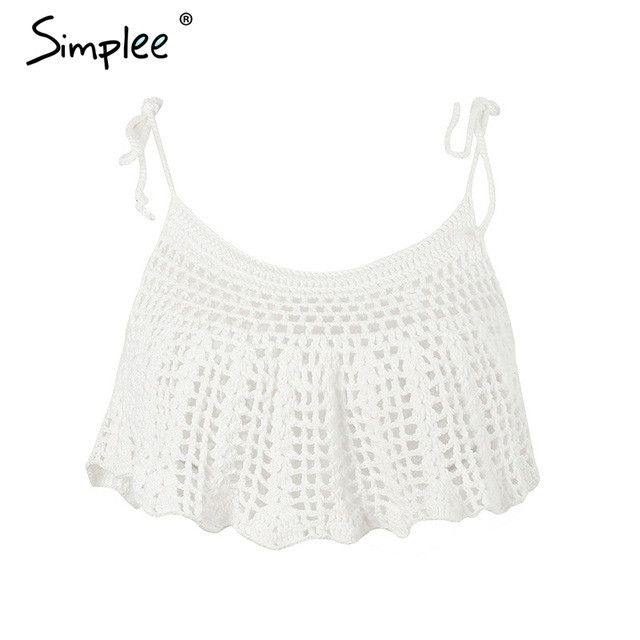 Simplee Crochet loose hollow out camisole tank top Sexy knitted strap women crop top Summer beach white tube top 2017