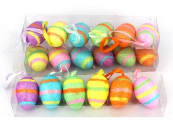 For the Home: Hanging Stripe Easter Eggs  #easter #decorations #party