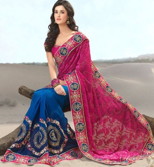 Blue And Pink Color Net And Georgatte Designer Saree. Sale : $181.45