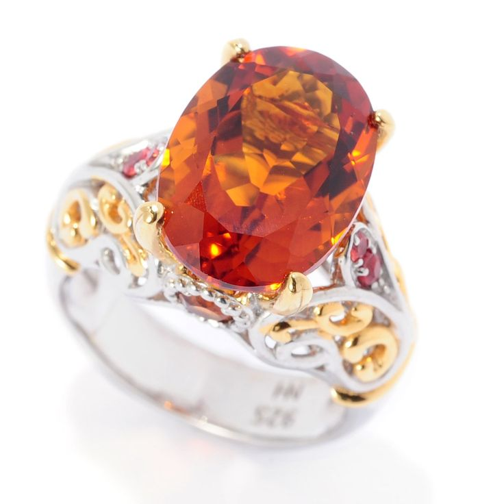157-613 - Gems en Vogue 4.92ctw Madeira Citrine & Orange Sapphire Scrollwork Ring