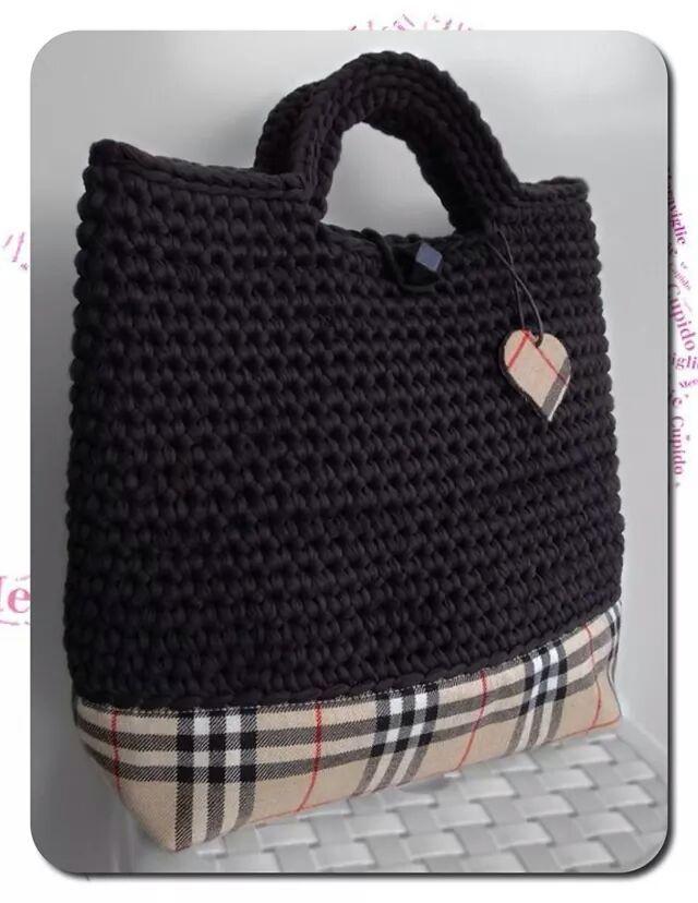 Eu fago labores bolso de trapillo con base de tela for Bolso crochet trapillo