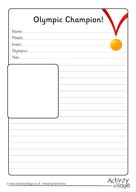 Olympic Champion Notebooking Page