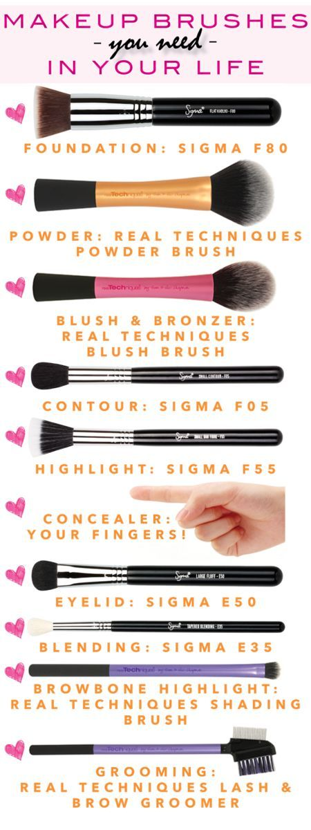 This chart & review has all the makeup brushes you need. I really want that sigma foundation brush. I've been in need of a better one! I have all of the real techniques brushes on this list and they are great! http://annemariemitchell.com/2014/05/apply-ma