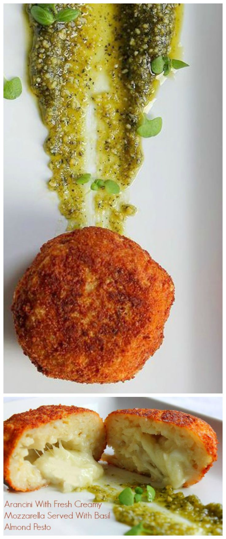 Fried rice balls stuffed with creamy #mozzarella coated with #breadcrumbs make excellent #antipasti at parties!