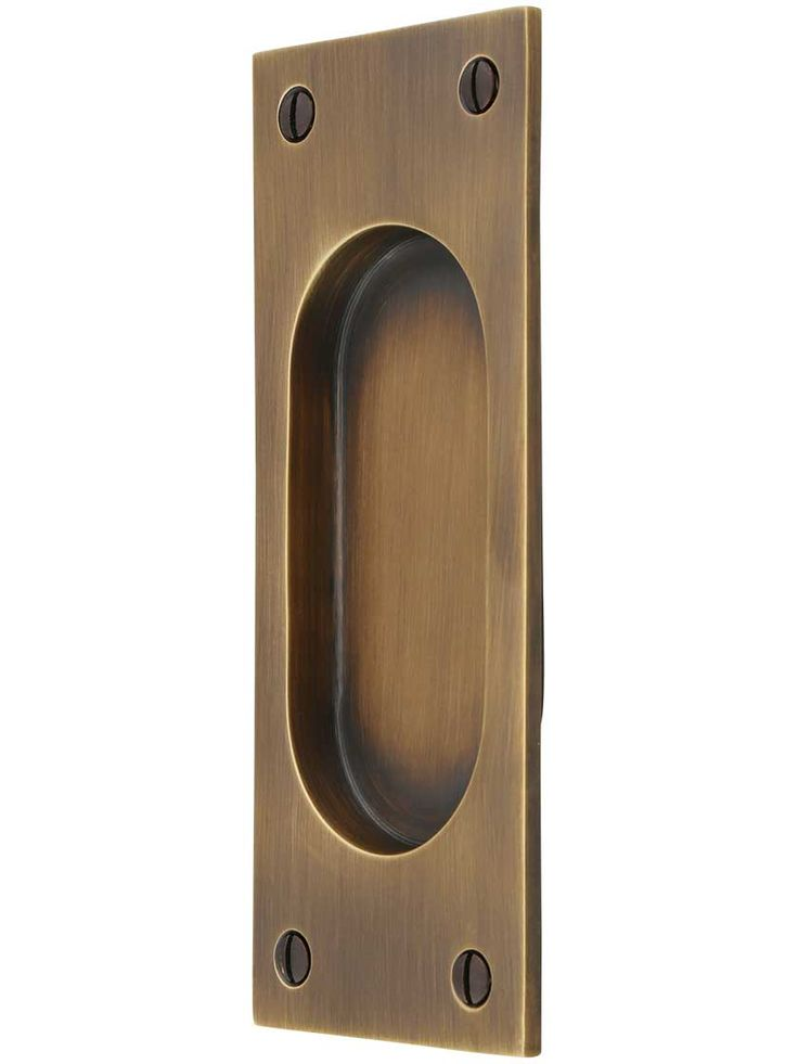 Rectangular Pocket Door Pull In Antique-By-Hand Finish | House of Antique Hardware
