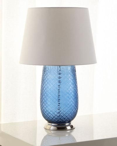 Blue cut glass table lamp
