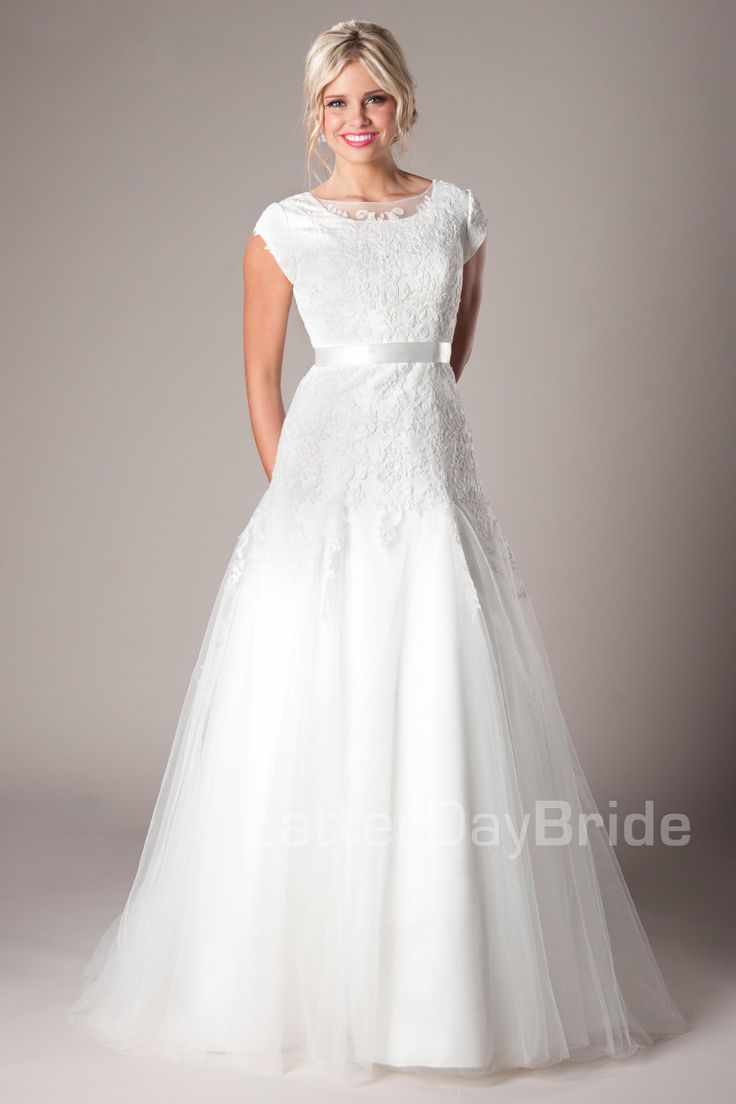 Modest wedding dresses melville neck and sleeve length for Lds wedding dresses lace
