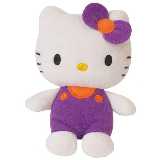 Pluche Hello Kitty paars 12 cm. Pluche Hello Kitty knuffel met paarse kleding aan. Formaat: ongeveer 12 cm.