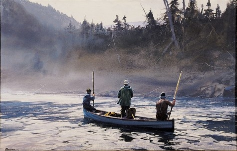Ogden Pleissner (1905-83), Blue  Boat on the Ste. Anne 1958, 1958, watercolor on paper. Collection of Shelburne Museum.Minton Pleissner, Favorite Artists, Exploration Painting, Pleissner Painting, Ogden Pleissner, Landscapes Painting, Breathtaking Art, Shelburne Museums, Ogden Minton